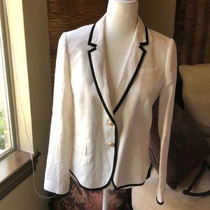 JCrew off white linen tipped schoolboy blazer